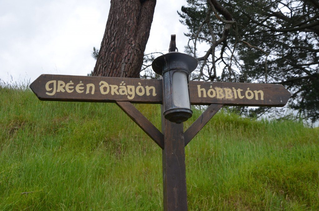 'Green Dragron' and 'Hobbiton' sign