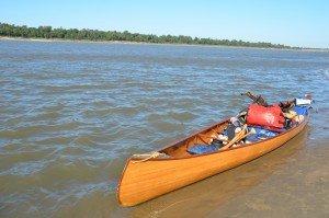 Fully laden canoe
