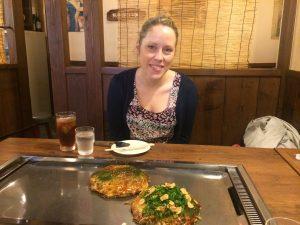 Eating okonomiyaki